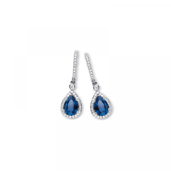 Boucles d'oreilles saphir & diamants