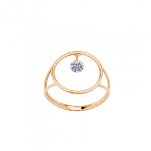 Bague excentrique or rose diamant 0.12ct