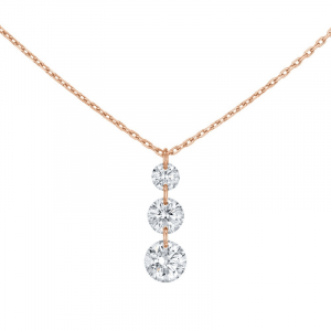 Collier 360° or rose Trio diamants 0.40ct