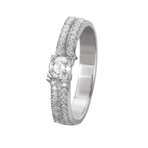 Solitaire entourage diamants