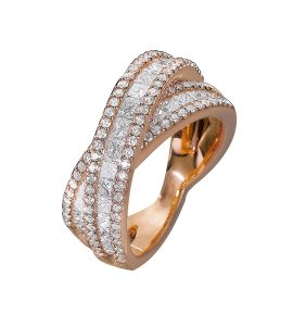 Bague diamants ronds et princesses