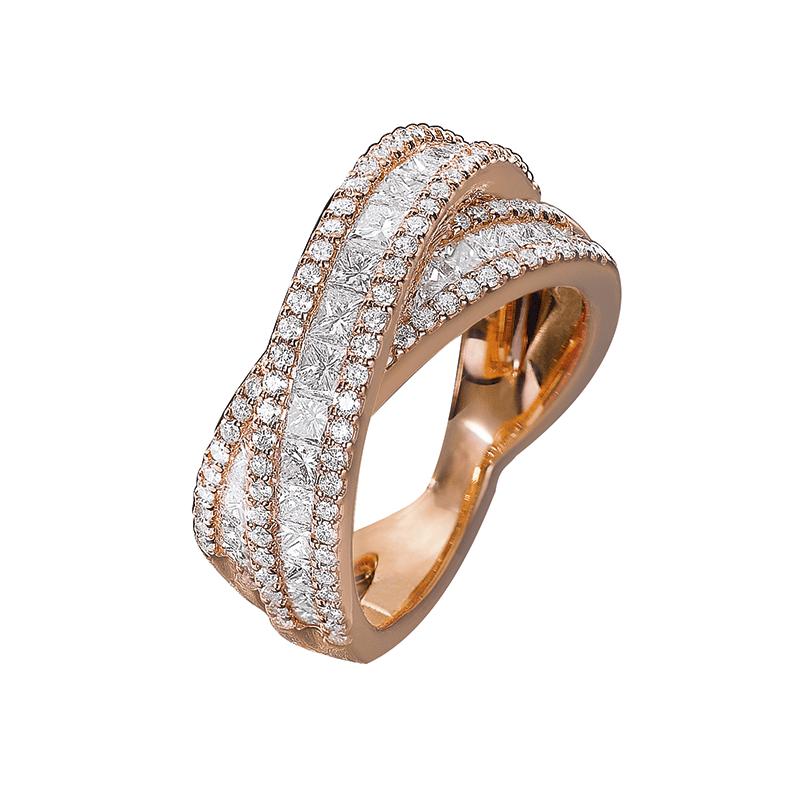 Bague diamants ronds et princesses