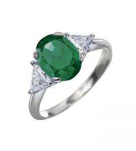 Bague émeraude et diamants troidia
