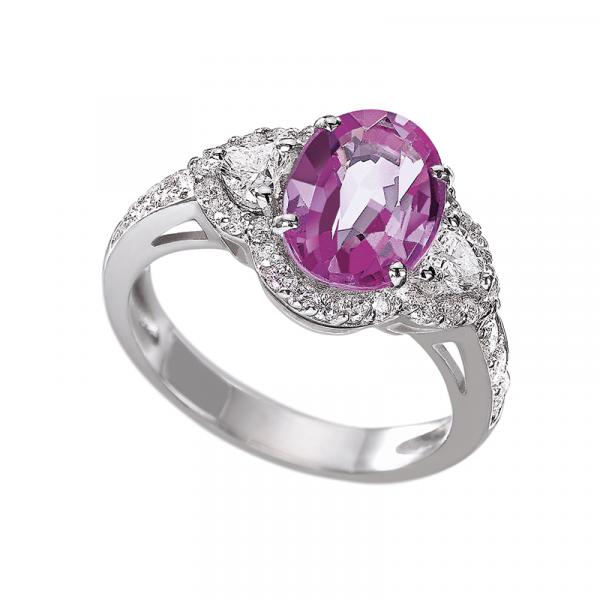 Bague Saphir Rose et diamants