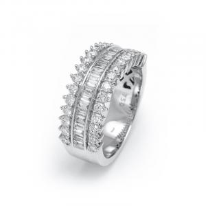 Demi alliance diamants ronds & baguettes