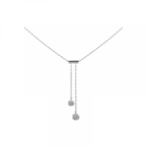 a brune et la blonde - Collier Cravate or blanc diamant 0.20ct