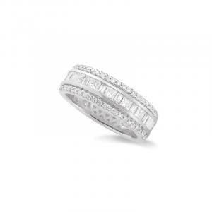 Alliance diamants ronds, baguettes, princesses