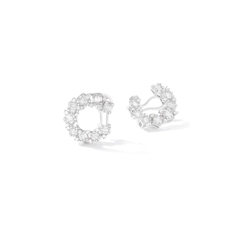 Créoles diamants baguettes et ronds