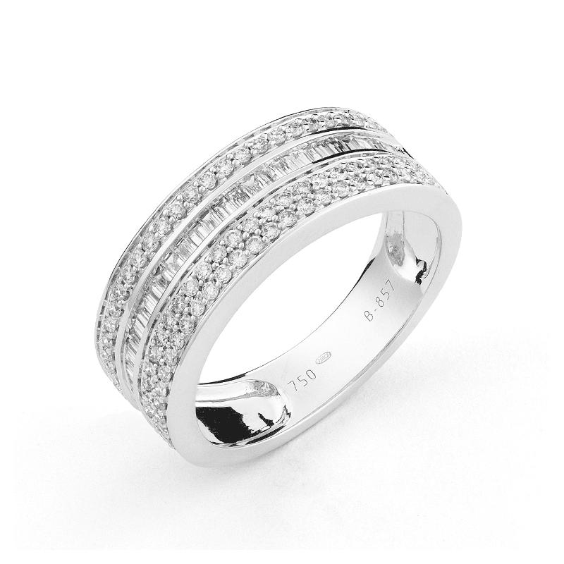 Alliance sertie diamants ronds et baguettes