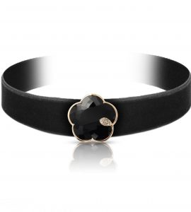 Choker TON JOLI or rose, onyx & diamants