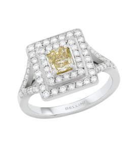 Bague Pavage diamants & diamant jaune