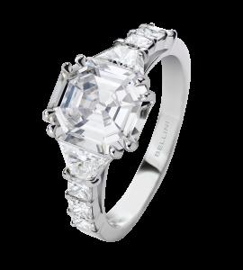Solitaire Diamant rectangle à pans coupés
