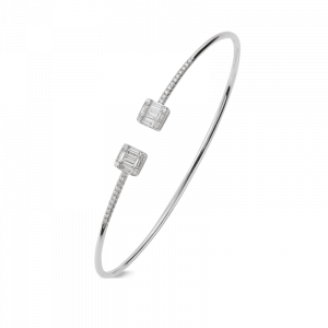 Bracelet flexible diamants or blanc