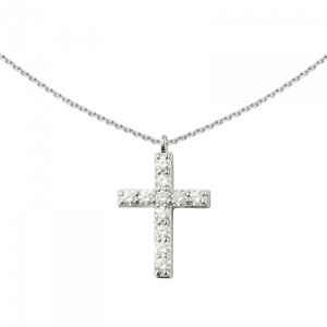 Collier pendentif croix diamants