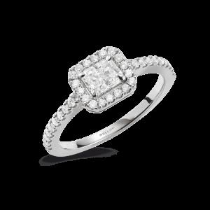 Solitaire taille radiant et entourage diamants