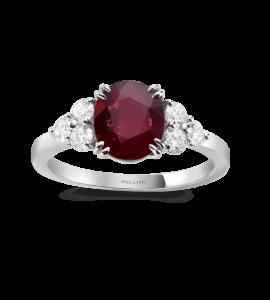 Bague rubis et 6 diamants