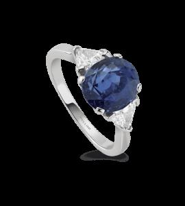 Bague saphir ovale & 2 diamants