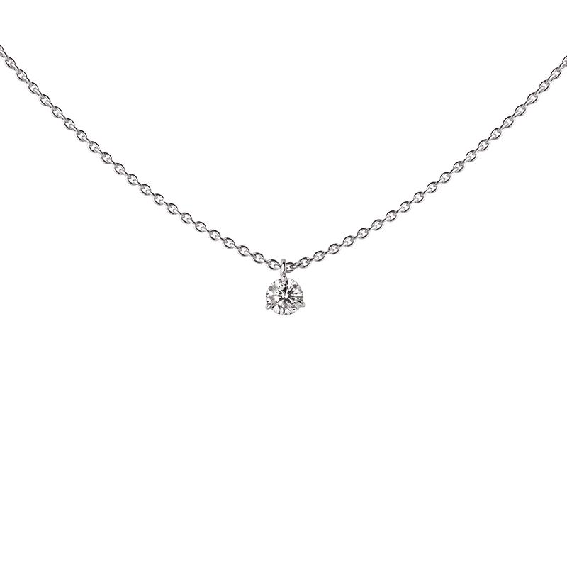 Pendentif Diamant 0.20ct certifié 3 griffes or blanc